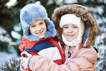 kids children at winter outdoor