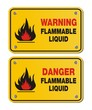 rectangle yellow signs - warning and danger flammable liquid