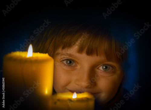 girl with candle - christmas