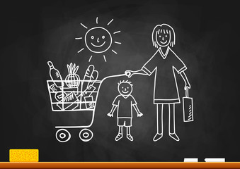 Drawing of woman and boy on blackboard