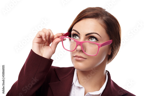 Serious teacher with glasses