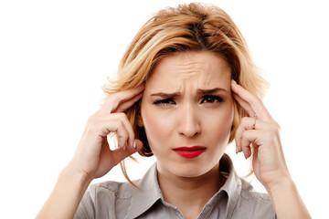 Businesswoman having a headache