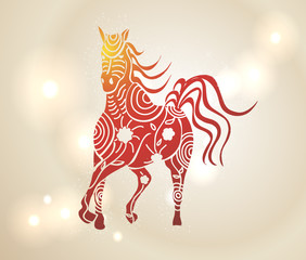 Multicolor Chinese New Year of horse 2014 background