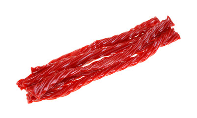 Angle View Group Twisted Cherry Licorice Sticks