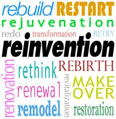 Reinvention Word Background Rebuild Redo Restart