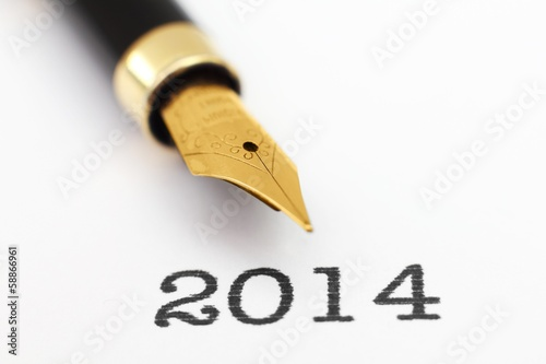 Fountain pen on 2014 year