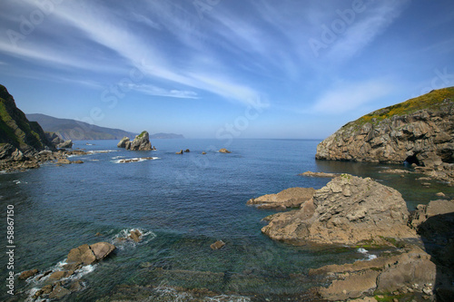 Rocks in sea near the island Gaztelugatxe, Spain