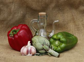 bodegon artistico de verduras