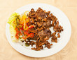 Meat with chanterelle mushrooms