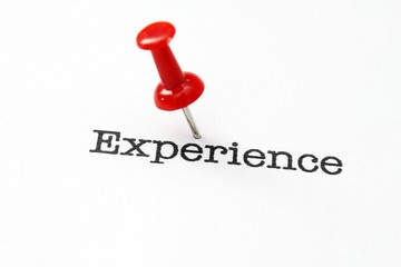 Push pin on experience text