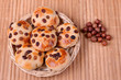 Tasty cookies with raisins and hazelnuts