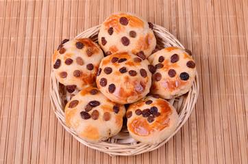 Tasty cookies with raisins