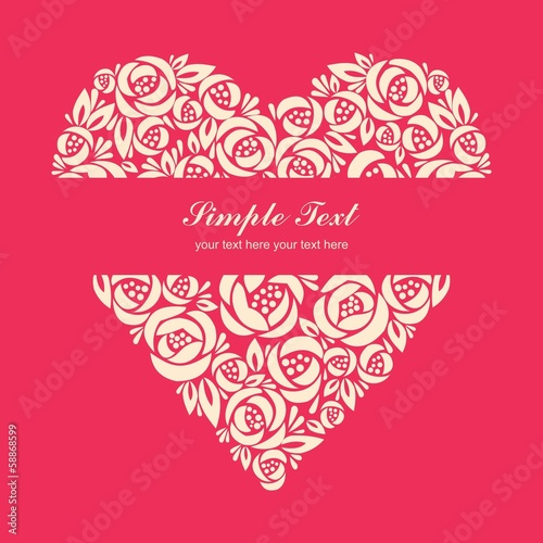 Floral heart on pink background with center tittle