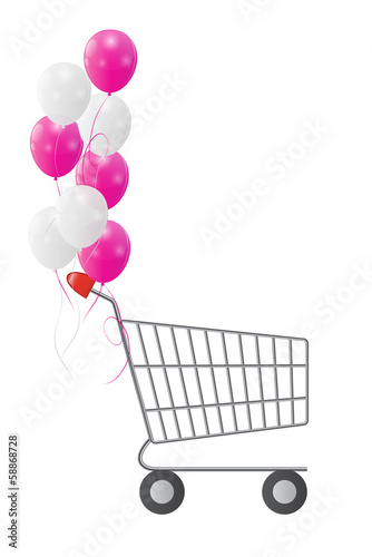Vector Illustration of Empty Supermarket Shopping Cart Icon