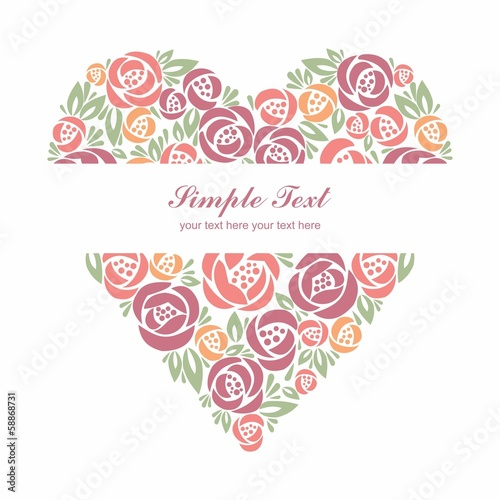 Floral heart on WHITE background with center tittle