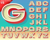 Retro alphabet for Summer typography design. Extended bold style