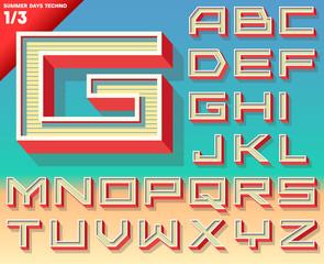 Retro alphabet for Summer typography design. Techno style