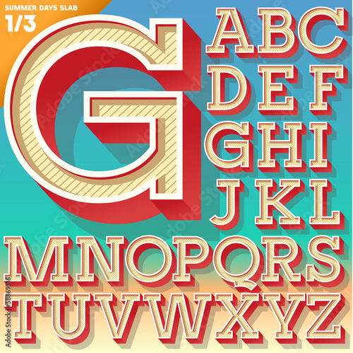 Retro alphabet for Summer typography design. Slab style