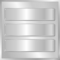 silver background with three banners