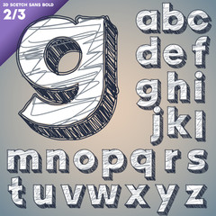 Sketch alphabet. Hand drawing font. Sansbold style