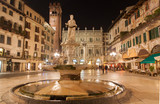Verona - Fountain on Piazza Erbe in at night