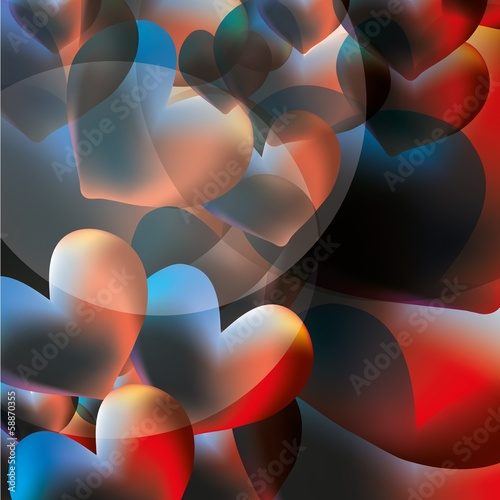 abstract vector background with colorful glowing hearts