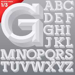 Old school beveled alphabet. Simple white version