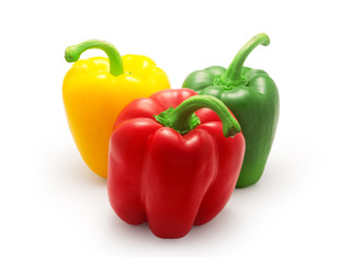 red, green and yellow bell pepper isolated on white background