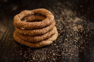 traditional Turkish bagels with sesame