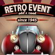 Retro Party Flyer with Vintage Car