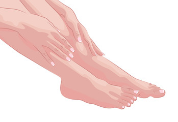 Female feet and hands isolated