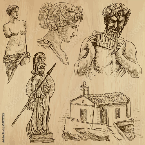 Traveling series: GREECE (set no.6) - drawings into vector set