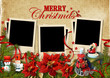 .Christmas vintage background with frames for family