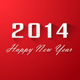Happy New Year 2014 On Red Background
