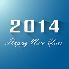 Happy New Year 2014 On Blue Background