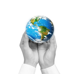 """earth social in human hand """"Elements of this image furnished by"""