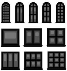 Sets of silhouette windows, create by vector