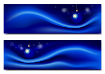 Blue horizontal backgrounds with silk and Christmas ball