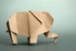 Origami elephant, on grey background
