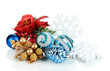 Composition of Christmas balls isolated on white