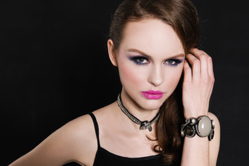Close up glamour girl with bright make-up-and bracelet , Jewelry