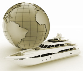 yacht and globe. 3d illustration