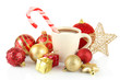 Cup of hot cacao with Christmas decorations isolated on white
