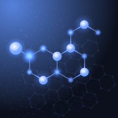 Serotonin molecule structure background.