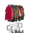female clothes with coat hanging on clothes rack