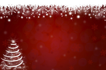 Snowflakes and Christmas Tree Background in Red