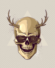 Hipster gold skull with horns