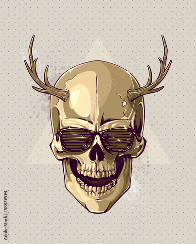 Hipster gold skull with horns © Vecster