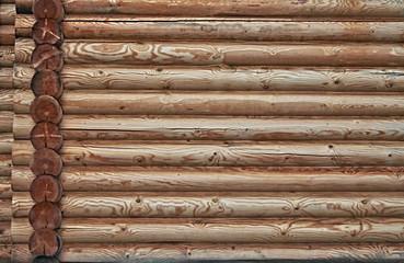 Log wall.