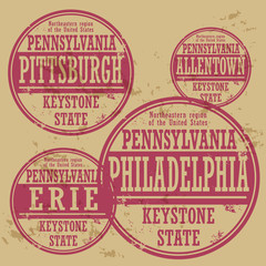 Grunge rubber stamp set with names of Pennsylvania cities